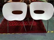 Sale 8462 - Lot 1072 - Pair of Soft Egg Shell Chairs