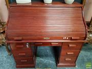 Sale 8465 - Lot 1014 - Timber Roll Top Desk with Seven Drawers (Keys in Office)