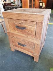 Sale 8620 - Lot 1058 - Rustic Recycled Elm Bedside with Two Drawers & Iron Handles