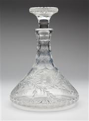 Sale 8660A - Lot 66 - A quality English Stuart hand cut lead crystal ships decanter, decorated with trailing florals,