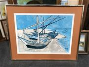 Sale 8816 - Lot 2038 - Framed Picture Of A Boat (Glass Missing)
