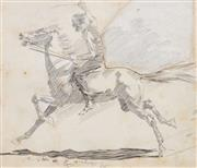 Sale 8892A - Lot 5030 - George Washington Lambert ARA (1873-1930) - Galloped Away (published in The Bulletin), 1895 22 x 25 cm