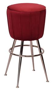 Sale 8957T - Lot 23 - A pair of Art Deco Style bar stools with velvet seats on stainless steel frame W46 x D46 x H73