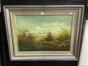 Sale 9053 - Lot 2060 - Norman Robins, Windy Day, oil on board, frame: 52 x 68 cm, signed lower left