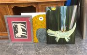 Sale 9087 - Lot 2062 - A group of three contemporary artworks including a Puppy, spotted chick and a crocodile, various sizes