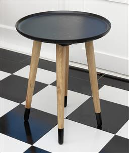 Sale 9248H - Lot 175 - A contemporary black timber four legged tray top side table. 45 x 55cm