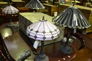 Sale 8093 - Lot 1539 - 2 Pairs of Glass Shades Table Lamps
