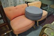 Sale 8289 - Lot 1097 - Pair of Peach Upholstered Chairs & Foot Stool