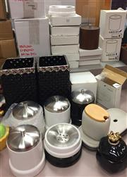 Sale 8310A - Lot 352 - A quantity of bathroom wares, including soap dishes, lidded containers, vases etc