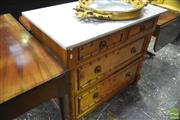 Sale 8335 - Lot 1025 - Late 19th Century French Faux Bamboo Cherrywood Chest of Four Drawers, with marble top