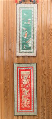Sale 8515A - Lot 75 - Five Chinese embroidered panels, with a pair of dragons, a pair of river boats, and bird decorations, H of largest 56cm