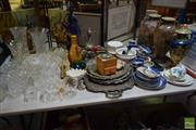 Sale 8530 - Lot 2111 - Collection of Sundries incl. Crystal & Glass Ware, Plated Tray & Platters Blue & White & Other Ceramics Pair Nippon Vases a/f, Resin...