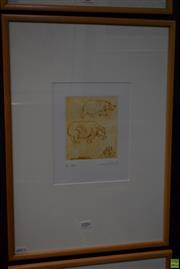 Sale 8592 - Lot 2006 - Frank Hodgkinson (1919 - 2001) Hippos, etching ed. AP, 15 x 12.5cm (frame: 57 x 41cm), signed and dated lower right