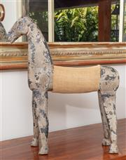 Sale 8868H - Lot 36 - A horse named Geg with leather ears and a hessian saddle (some repairs have been made) Height incl ears 63cm