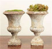 Sale 8871H - Lot 73 - Two white painted rustic campagna urns - Height 30cm