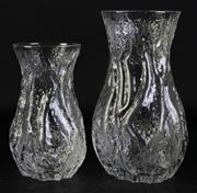 Sale 8997 - Lot 84 - Graduated Pair of Vintage Textured Baluster Shaped Glass Vases, for Industria Vetraria Valdarnese Tuscany (H25.5cm)
