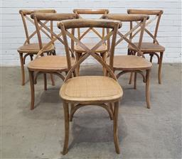 Sale 9134 - Lot 1519 - Set of six timber natural finish cross back dining chairs (h:89 w:50 d:51cm)