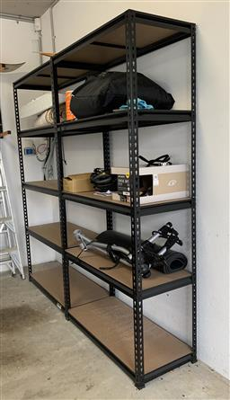 Sale 9150H - Lot 121 - pair of timber and metal shelving units, Height 182cm x Width 91cm x Depth 41cm