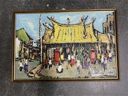 Sale 9159 - Lot 2091 - MALAYSIAN SCHOOL Crowded Street & Temple, 1963, oil on board, frame: 43 x 63 cm, signed indistinctly lower right -