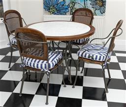 Sale 9248H - Lot 184 - A French style iron and timber five piece breakfast setting with wicker inset to chairs, the table with a white marble insert top.