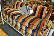 Sale 8093 - Lot 1186 - A very comfortable Sofa Bed with Striped Fabric upholstery and down filled cushions