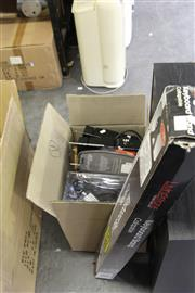 Sale 8139 - Lot 2220 - Box of Audio Equipment incl. Cables, Speakers, Keyboard Stand etc