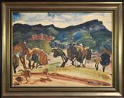 Sale 8266 - Lot 584 - Mervyn Ashmore Smith (1904 - 1994) - Valley Landscape 53.5 x 72.5cm