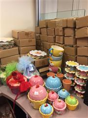 Sale 8310A - Lot 353 - A large quantity of brightly coloured ceramic dessert and cake serving wares, including plates, cups, cake stands, waffle cones and...