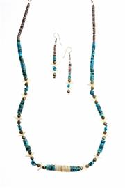 Sale 8357 - Lot 316 - A MEXICAN FETISH STONE JEWELLERY SUITE; necklace and drop earrings strung with flat turquoise, and agate beads and carved mother of...