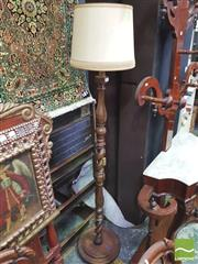Sale 8416 - Lot 1097 - Oak Turned & Barley Twist Standard Lamp (shade available)