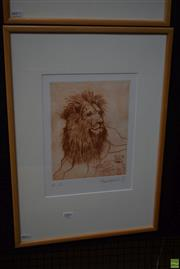 Sale 8592 - Lot 2007 - Frank Hodgkinson (1919 - 2001) Lion, etching ed. AP, 25 x 20cm (frame: 57 x 41cm), signed and dated lower right