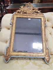 Sale 8917 - Lot 1050 - Small Louis XVI Style Gilt Mirror, with urn trophies & floral swags, on a light blue painted backing