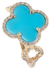 Sale 8974 - Lot 350 - A TURQUOISE AND DIAMOND LUCKY CLOVER RING; 18ct gold Alhambra style quatrefoil ring with reconstituted turquoise plaque to surround...