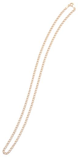 Sale 9132 - Lot 307 - A 9CT GOLD CHAIN; 3mm wide fancy double curb link chain to bolt ring clasp with Italian hallmarks, length 51cm, wt. 3.98g.