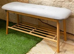 Sale 9150H - Lot 125 - An Upholstered shoe rack bench, Height 43cm x Width 92cm Depth 30cm