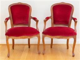 Sale 9165H - Lot 29 - A pair of Louis VX style red velvet upholstered armchairs, Height of back 88cm