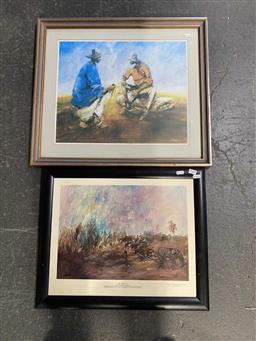 Sale 9176 - Lot 2068 - A pair of Hugh Sawrey decorative prints, yarning by the fire and first cut 54 x 61 cm, 46 x 55 cm -
