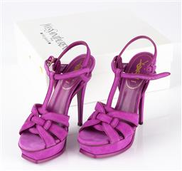 Sale 9250F - Lot 8 - A pair of YSL Paris tribute Orchid 105 platform Heels in purple. (new in box) size 38