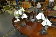 Sale 8159 - Lot 1046A - 2 Pairs of Table Lamps & Bronze Style Figure of Nude Table Lamp (5)