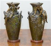 Sale 8338A - Lot 39 - A pair of fin de siècle cast metal vases, of maidens above blackberry bushes, signed L & F Moreau, with holes for lamp fittings, H 33cm
