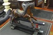 Sale 8341 - Lot 1004 - Small Carved Timber Rocking Horse With Hand Painted Seat`