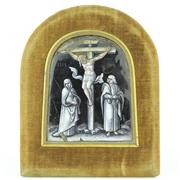 Sale 8372 - Lot 83 - Limoges Enamel Grisaille Painted Crucifixion Scene