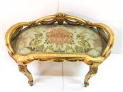 Sale 8516A - Lot 64 - A French gilded stool with original upholstery on cabriole Louis XV style legs. 49cm high x 79cm wide x 49cm deep