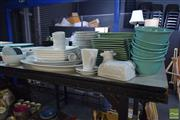 Sale 8530 - Lot 2365 - Collection of Green Glazed and White Glazed Dinner Wares plus Butter Dish