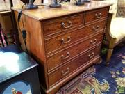 Sale 8562 - Lot 1029 - Unusual Chinese Rosewood Chest of Five Drawers, in the Sheraton manner, retailed by Brights of Nettlebed UK. Width: 92 cm (Key in Of...