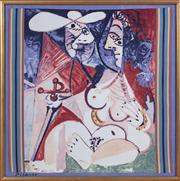 Sale 8630A - Lot 80 - A Picasso print of an amorous couple with sword, total size 91 x 91cm, in gilt frame