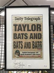 Sale 8805A - Lot 891 - Mark Taylor Signed. A copy of the dAily Telegraph front page 1998, Taylor Bats and Bats and Bats when 334 not out.