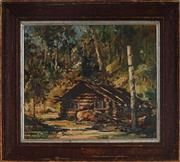 Sale 9061 - Lot 2004 - Robert Johnson (1890 - 1964) - Cabin In The Woods 23.5 x 27.5 cm (frame: 34 x 38 x 2 cm)