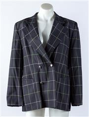 Sale 9003F - Lot 85 - A Lorel double breasted blazer in Navy/Green check, size 38
