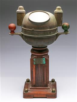 Sale 9098 - Lot 422 - Ships Binnacle on Timber Base (H52cm) With Plaque to Front Henry Browne & Co.